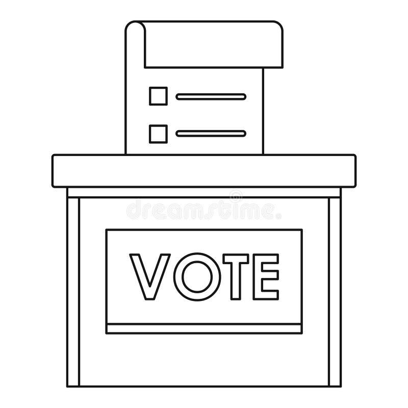 Icono de la caja de la elección del voto, estilo del esquema stock de ilustración