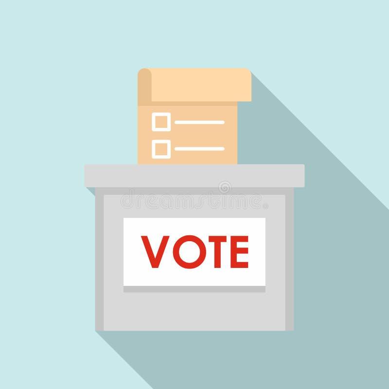 Icono de la caja de la elección del voto, estilo plano ilustración del vector