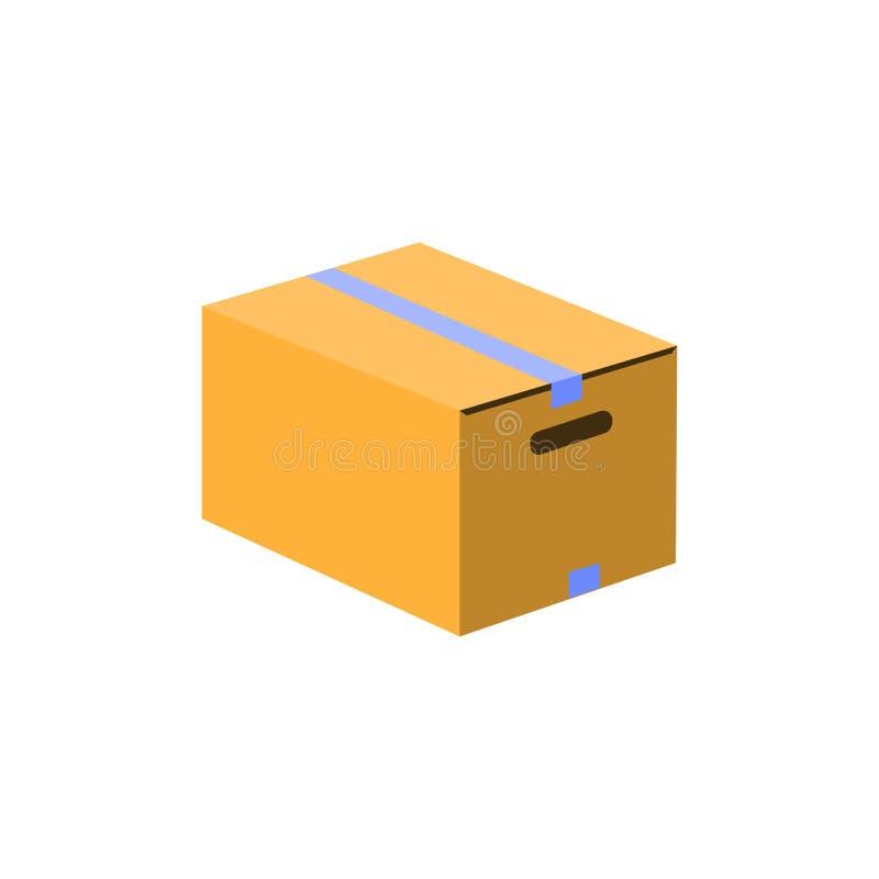 Icono de la caja Estilo plano del diseño Silueta simple del paquete La página moderna, minimalista del sitio web y el app móvil d stock de ilustración