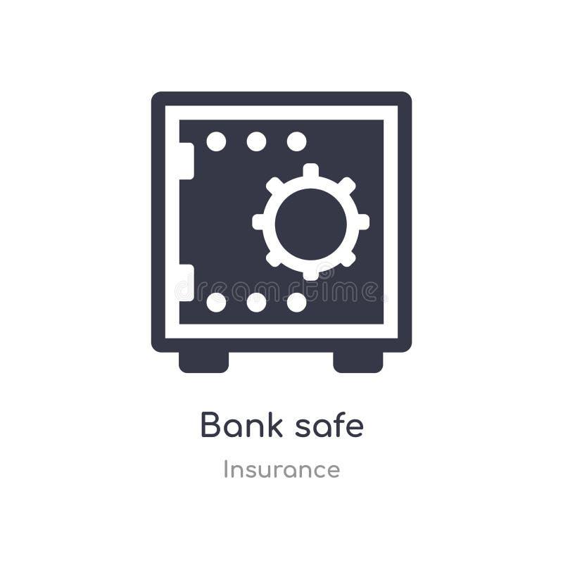 Icono de la caja fuerte del banco ejemplo seguro aislado del vector del icono del banco de la colección del seguro editable cante stock de ilustración
