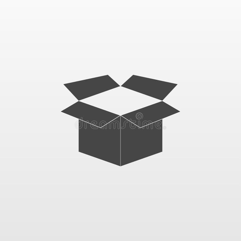 Icono de la caja de Gray Open aislado en fondo Pictograma plano moderno, negocio, márketing, Internet concentrado ilustración del vector