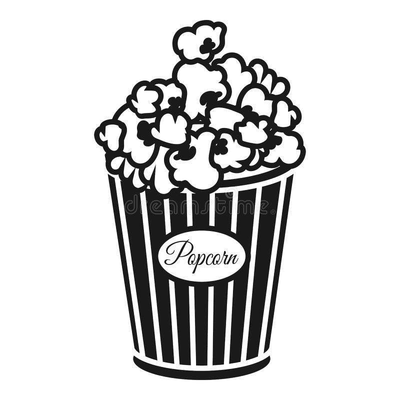 Icono de la caja de las palomitas del cine, estilo simple stock de ilustración