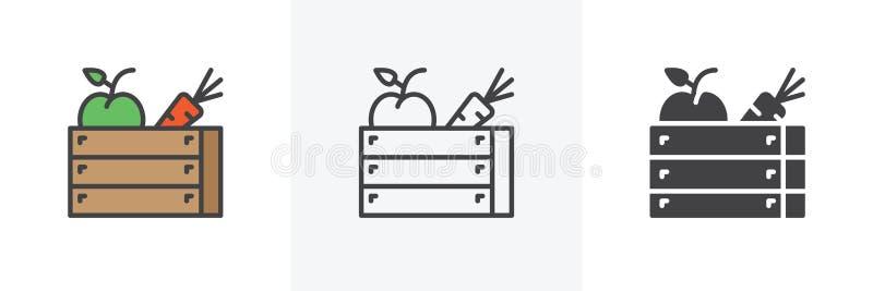 Icono de la caja de madera de la cosecha stock de ilustración