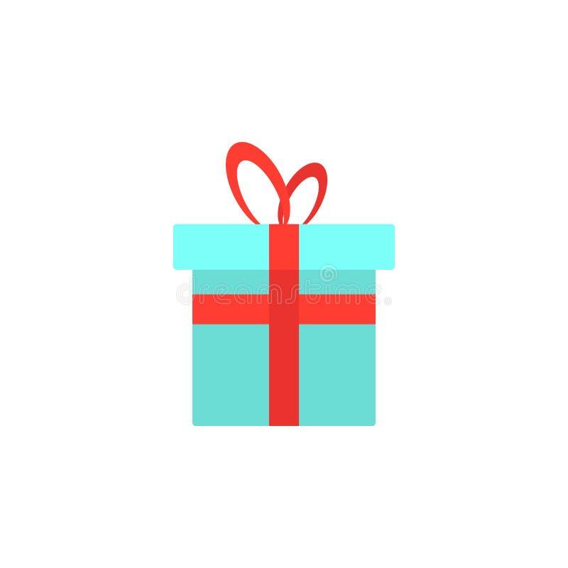 Icono de la caja de regalo del vector Ejemplo plano del presente de cumpleaños giftbox aislado en el fondo blanco Símbolo de la c ilustración del vector