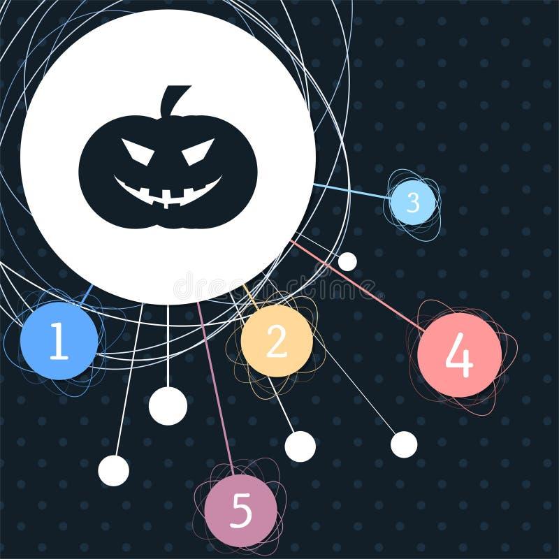 Icono de la calabaza de Halloween con el fondo al punto y con estilo infographic stock de ilustración