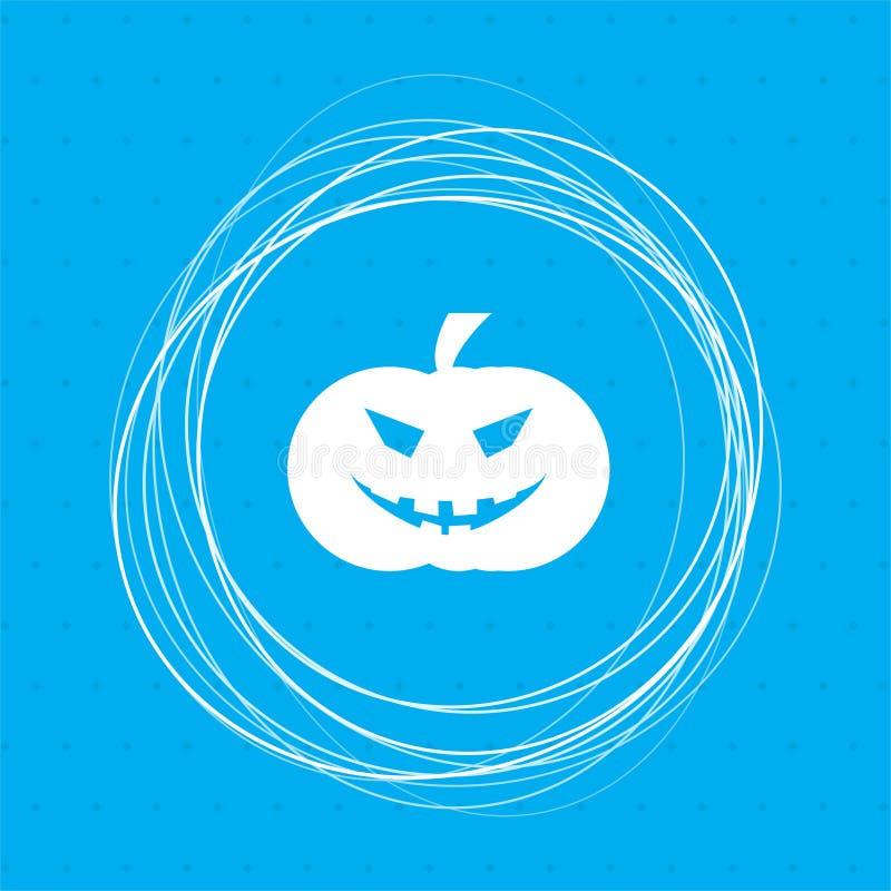 Icono de la calabaza de Halloween en un fondo azul con los círculos abstractos alrededor y el lugar para su texto stock de ilustración