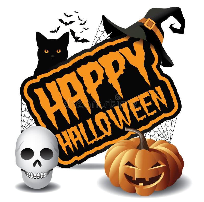 Icono 2 de la calabaza y del cráneo del partido del feliz Halloween stock de ilustración