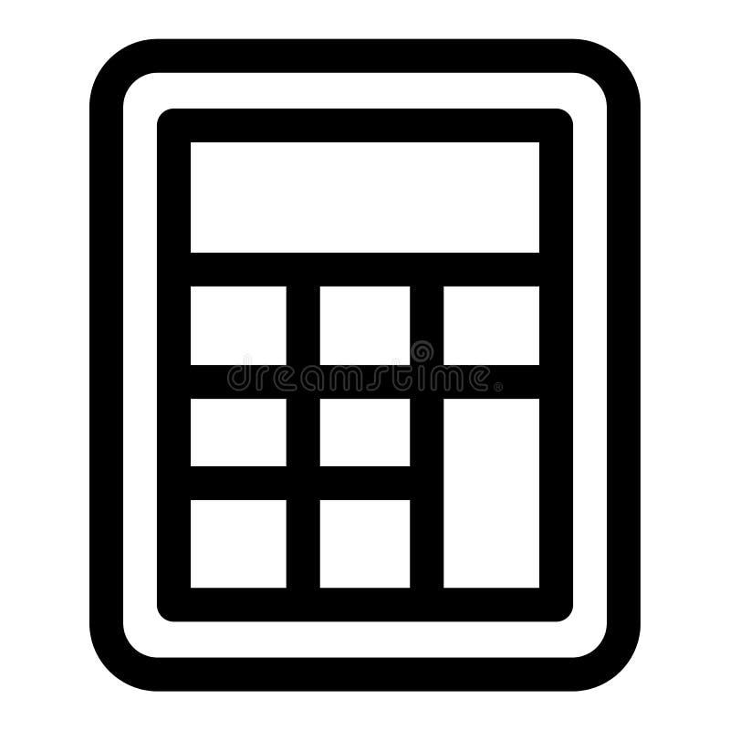 Icono de la calculadora de la escuela, estilo del esquema stock de ilustración