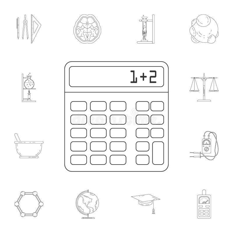 Icono de la calculadora Sistema detallado de ejemplos de la ciencia y del laboratorio Icono superior del diseño gráfico de la cal ilustración del vector