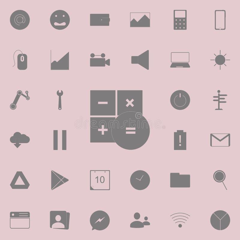 Icono de la calculadora Sistema detallado de iconos minimalistic Muestra superior del diseño gráfico de la calidad Uno de los ico stock de ilustración