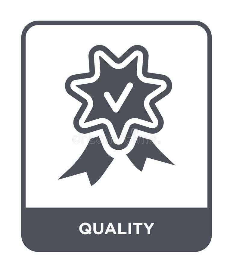 icono de la calidad en estilo de moda del diseño icono de la calidad aislado en el fondo blanco símbolo plano simple y moderno de stock de ilustración