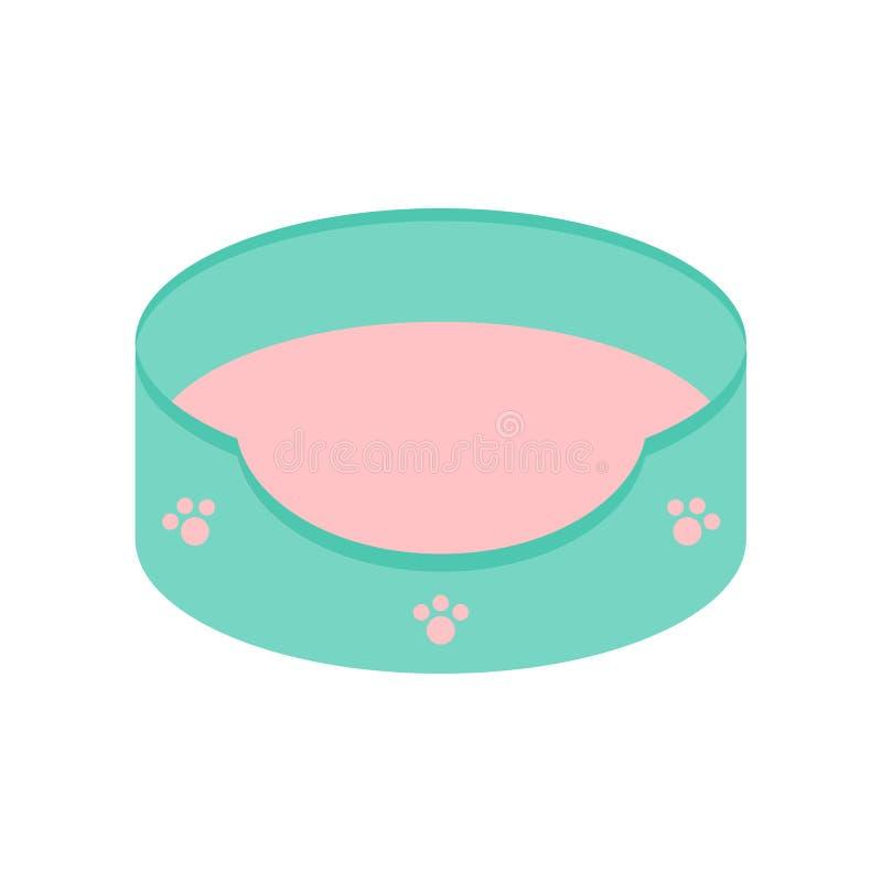 Icono de la cama de Cat Pet del perro Paw Print Set Cojín el dormir con la almohada desprendible de la estera color azul y rosado ilustración del vector