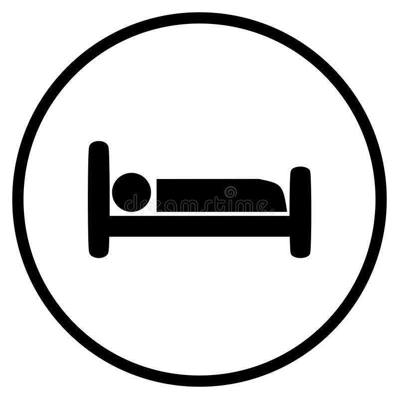Icono de la cama del hotel en círculo libre illustration
