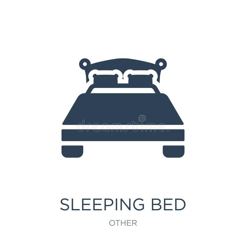 icono de la cama el dormir en estilo de moda del diseño Icono de la cama el dormir aislado en el fondo blanco icono del vector de ilustración del vector