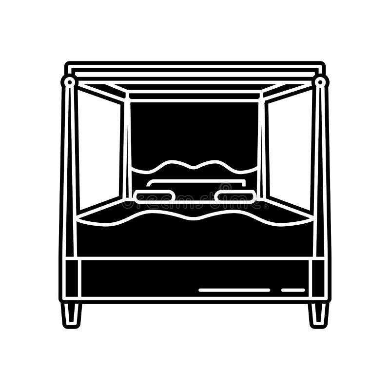 Icono de la cama Elemento del hogar para el concepto y el icono m?viles de los apps de la web Glyph, icono plano para el dise?o d ilustración del vector