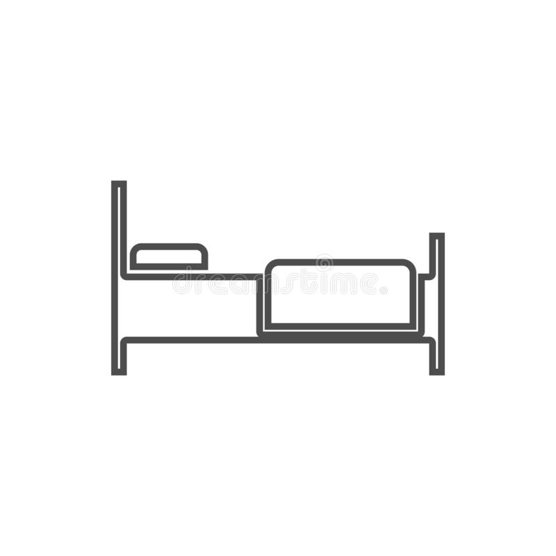 Icono de la cama Elemento de la seguridad cibernética para el concepto y el icono móviles de los apps de la web Línea fina icono  ilustración del vector