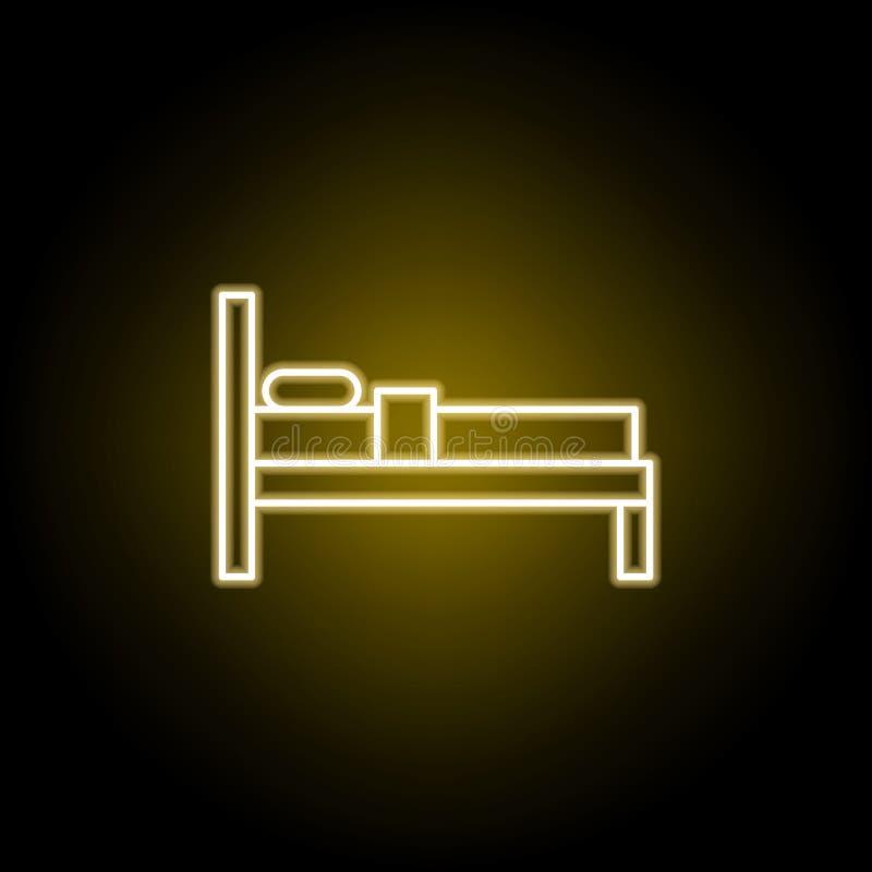 icono de la cama en el estilo de ne?n Las muestras y los s?mbolos se pueden utilizar para la web, logotipo, app m?vil, UI, UX ilustración del vector