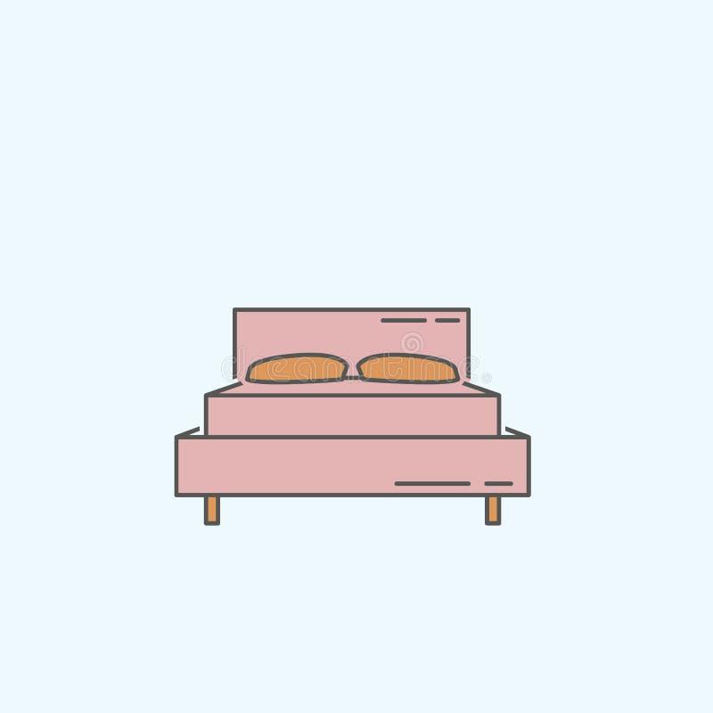 Icono de la cama en el fondo blanco libre illustration