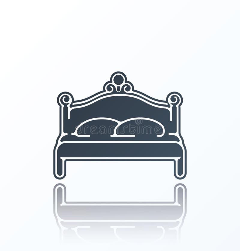 Icono de la cama en el fondo blanco ilustración del vector
