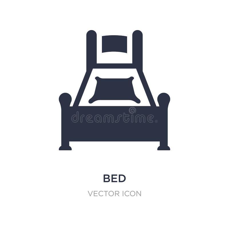 Icono de la cama en el fondo blanco Ejemplo simple del elemento del concepto de los muebles stock de ilustración