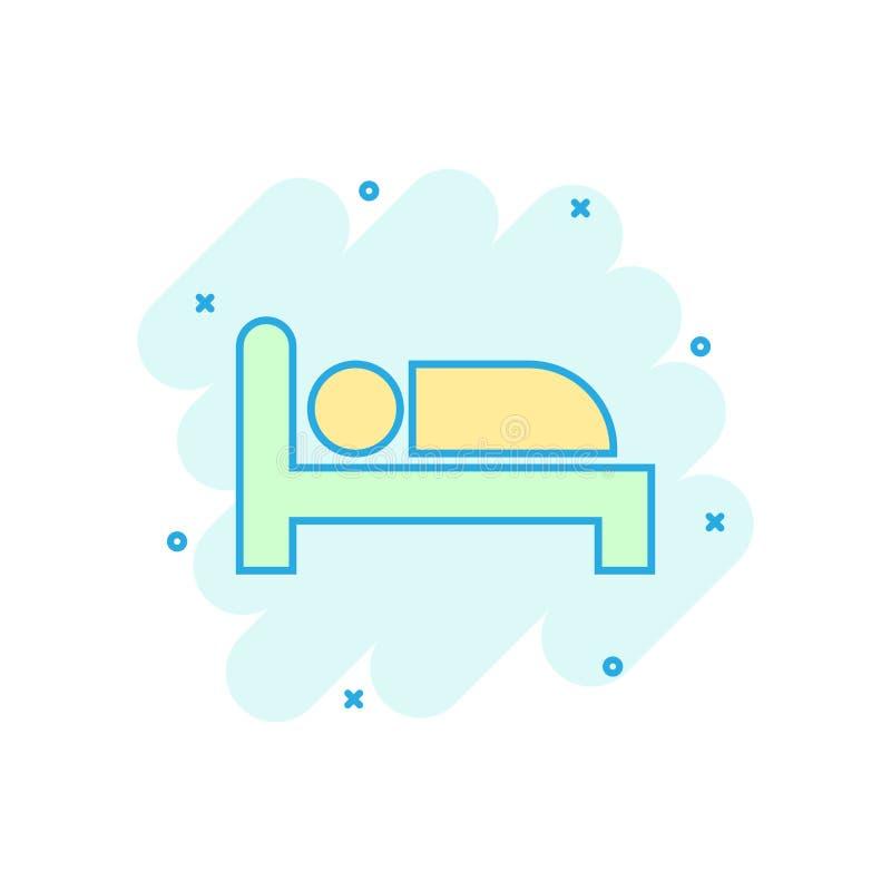 Icono de la cama en estilo cómico Pictograma del ejemplo de la historieta del vector del dormitorio del sueño Relaje el efecto de ilustración del vector