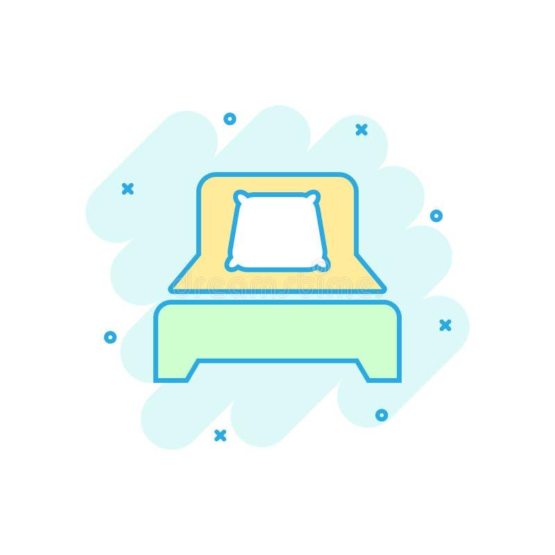 Icono de la cama en estilo cómico Pictograma del ejemplo de la historieta del vector del dormitorio del sueño Relaje el efecto de stock de ilustración
