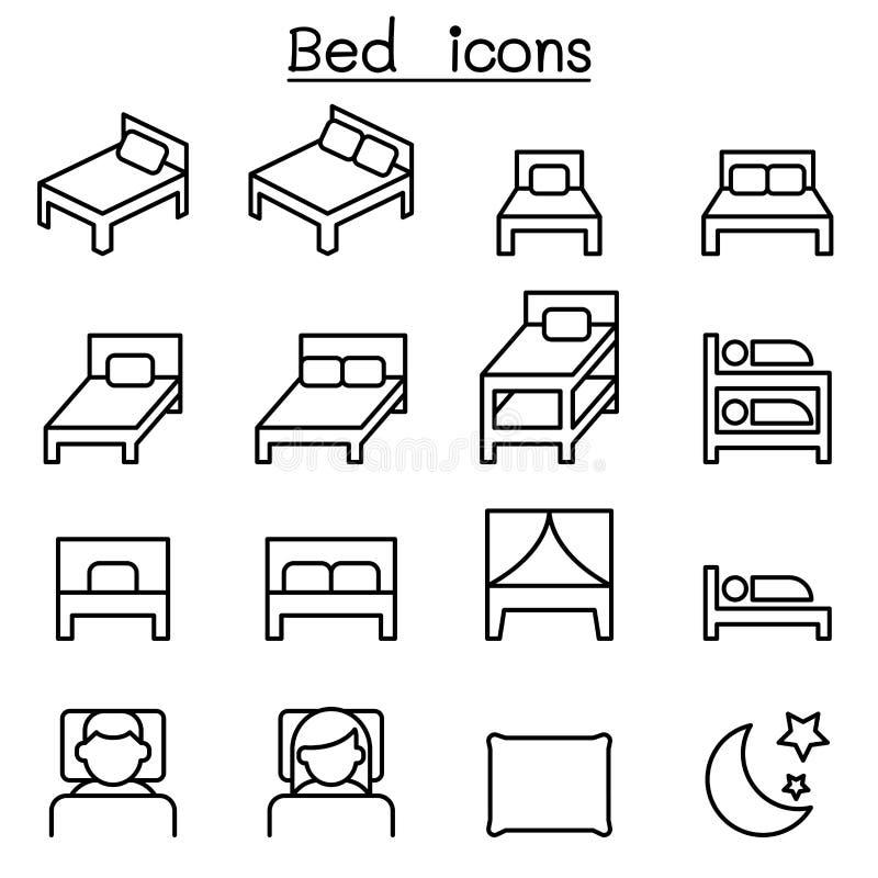 Icono de la cama fijado en la línea estilo fina libre illustration