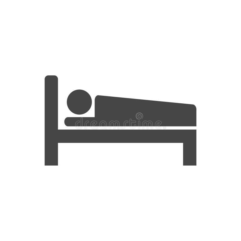 Icono de la cama de hospital, motel del hotel de la noche del sueño del símbolo del icono de la cama libre illustration