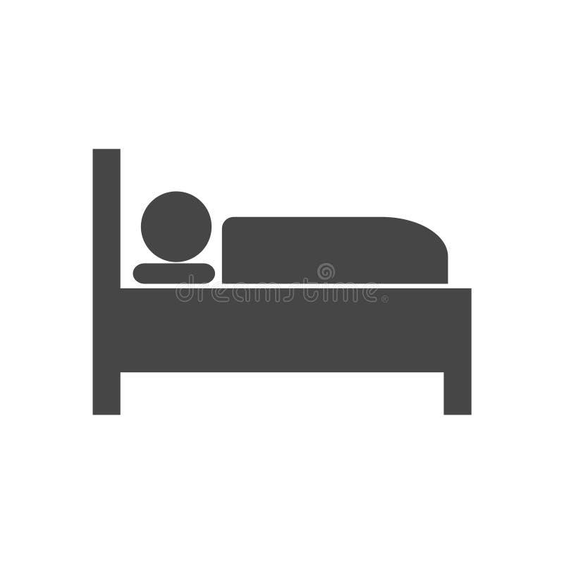 Icono de la cama de hospital, motel del hotel de la noche del sueño del símbolo del icono de la cama stock de ilustración