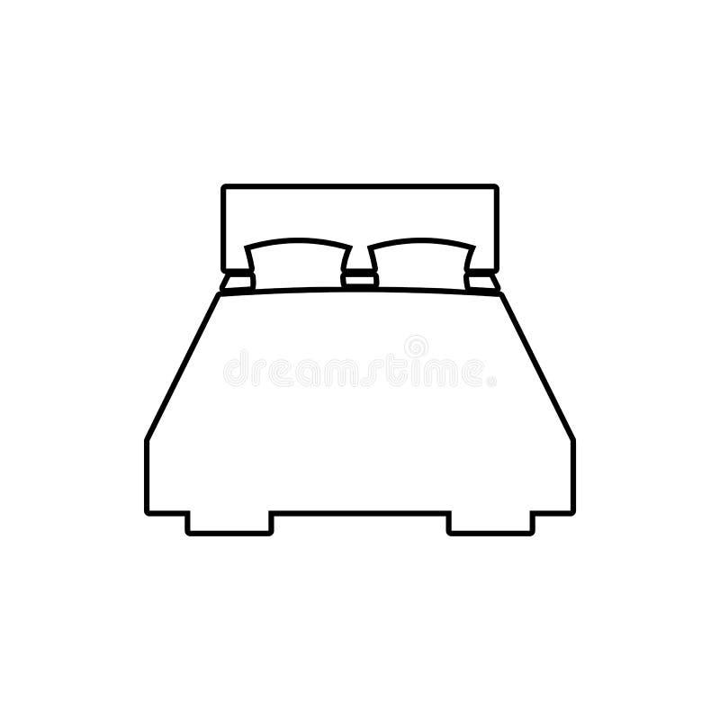 Icono de la cama matrimonial Elemento de los muebles para el concepto y el icono móviles de los apps de la web Línea fina icono p libre illustration