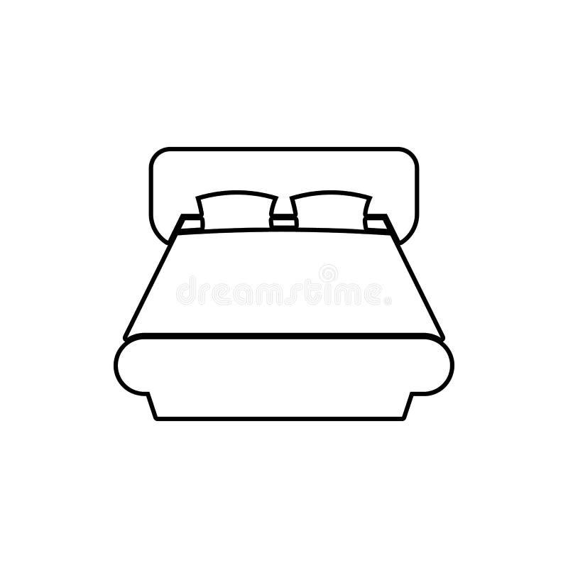 Icono de la cama matrimonial Elemento de los muebles para el concepto y el icono móviles de los apps de la web Línea fina icono p ilustración del vector