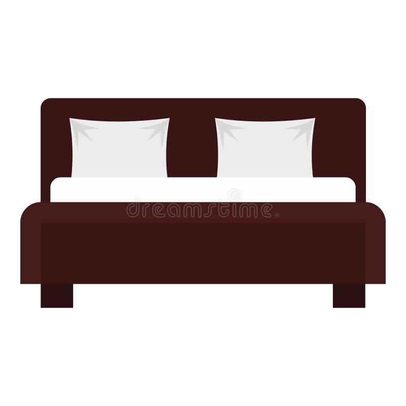 Icono de la cama matrimonial, estilo plano libre illustration