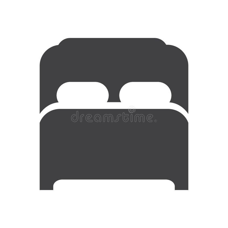 Icono de la cama matrimonial, muestra plana llenada, pictograma sólido del glyph stock de ilustración