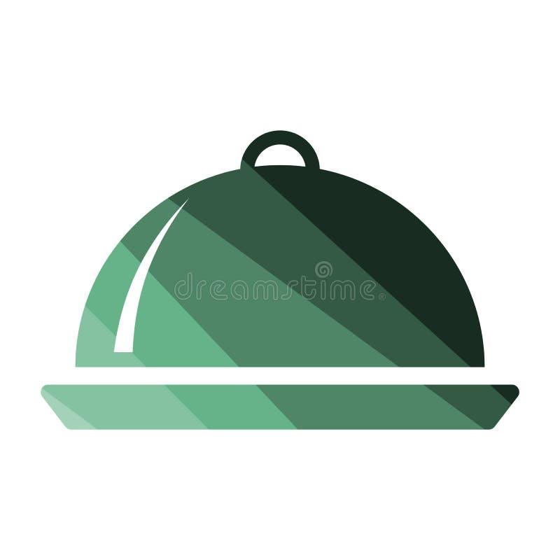 Icono de la campana de cristal del restaurante stock de ilustración