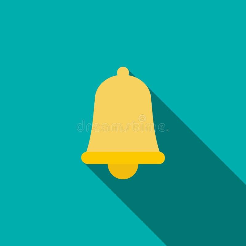 Icono de la campana de oro en estilo plano ilustración del vector