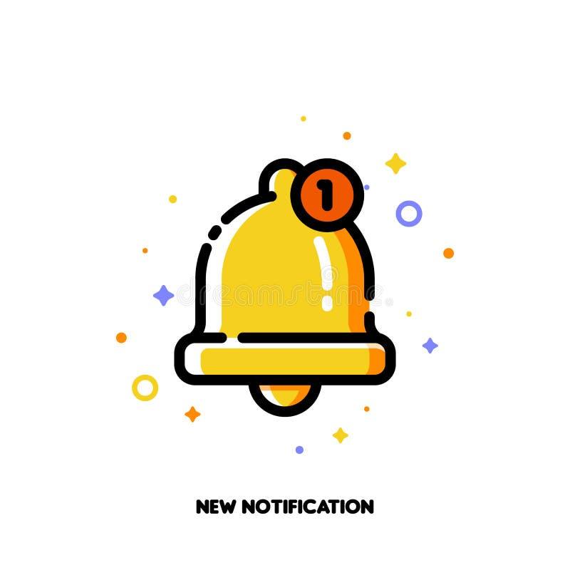 Icono de la campana de oro linda para el nuevo concepto de la notificación stock de ilustración