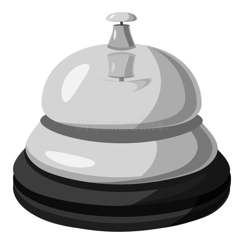 Icono de la campana de la recepción, estilo monocromático gris libre illustration