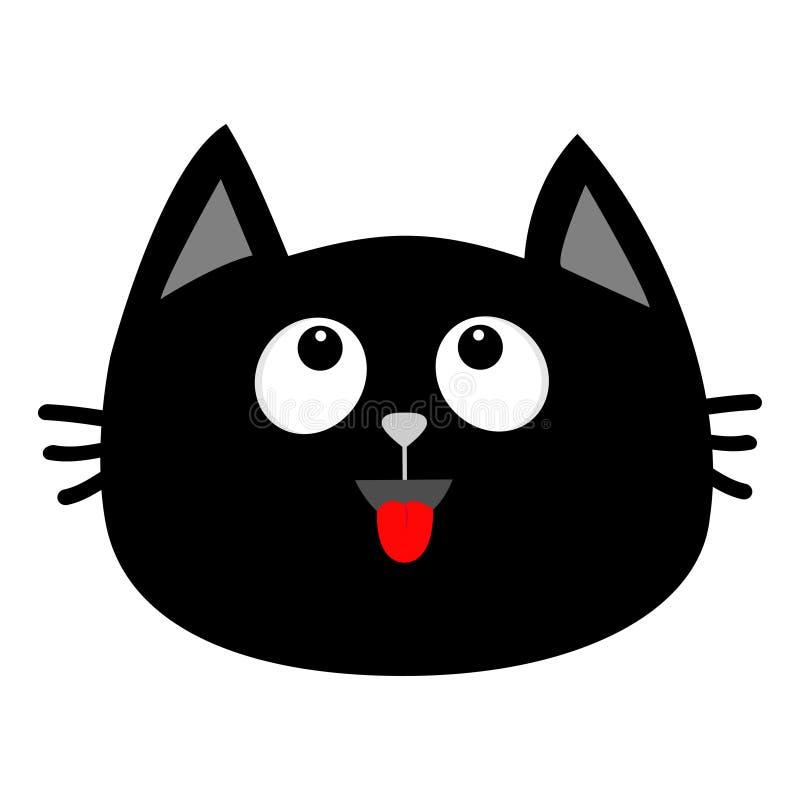 Icono de la cara de la cabeza del gato negro que mira para arriba Lengüeta roja Emoción sorprendida Personaje de dibujos animados ilustración del vector
