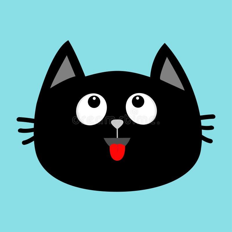 Icono de la cara de la cabeza del gato negro que mira para arriba Lengüeta roja Emoción sorprendida Personaje de dibujos animados libre illustration