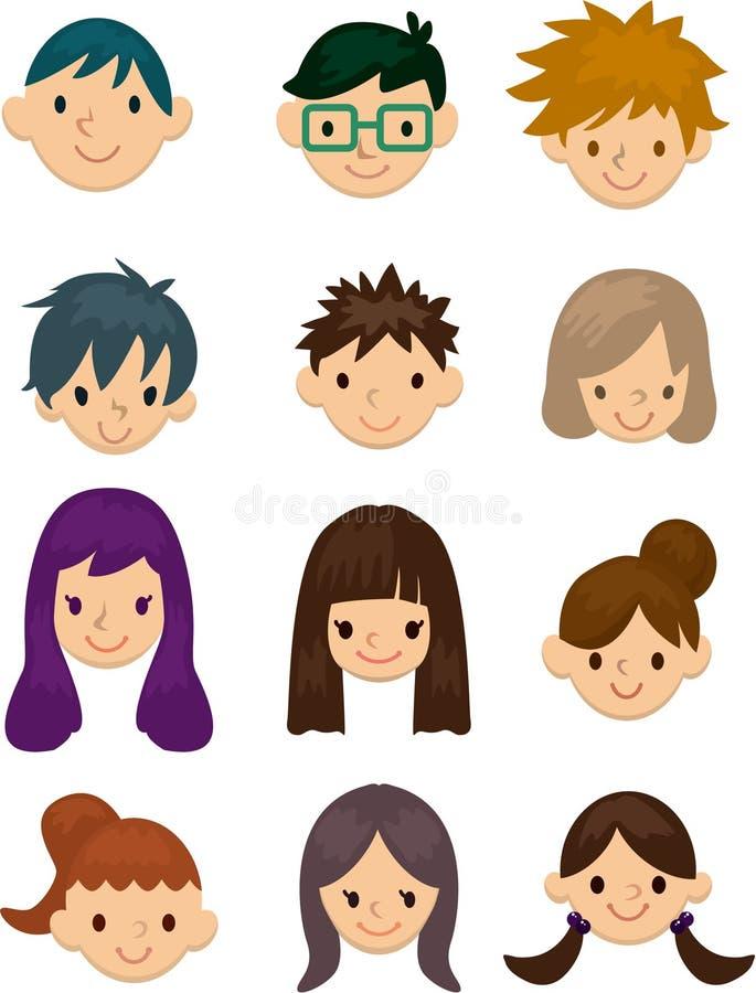 Icono de la cara de la gente joven de la historieta stock de ilustración