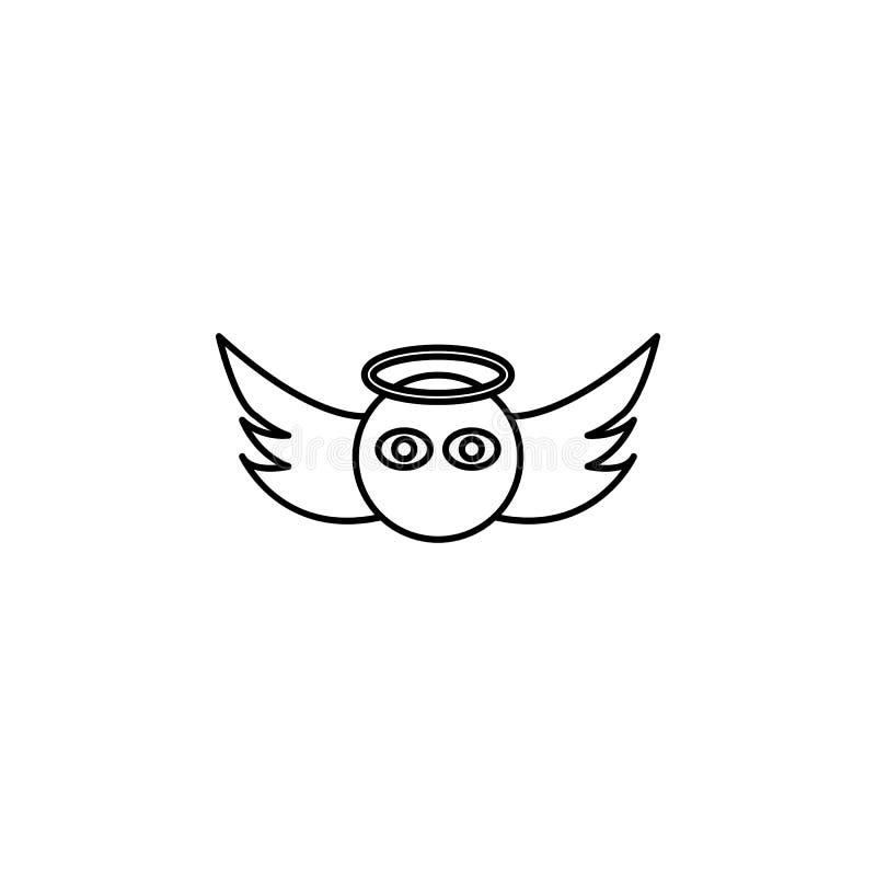 Icono de la cara del ángel stock de ilustración