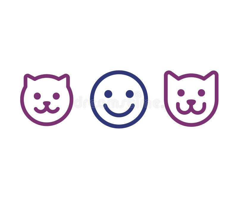 Icono de la cara del hombre, del gato y del perro libre illustration