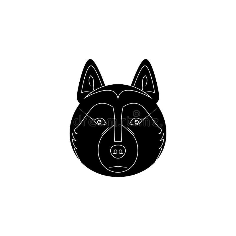 Icono de la cara del Malamute de Alaska Raza popular del icono del elemento de los perros Icono superior del diseño gráfico de la ilustración del vector