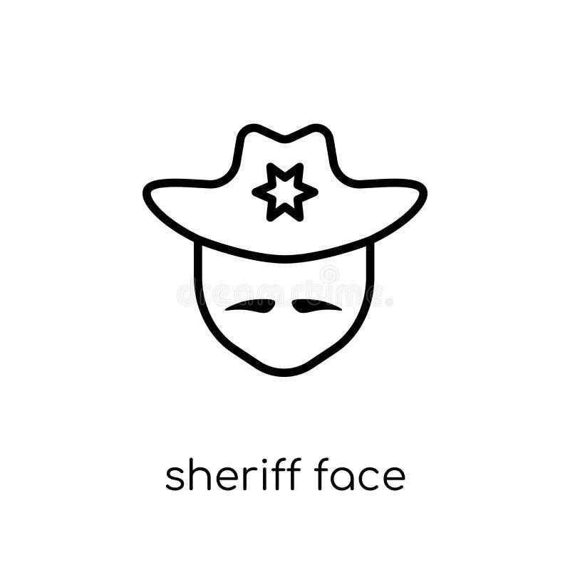 Icono de la cara del sheriff Cara linear plana moderna de moda del sheriff del vector stock de ilustración