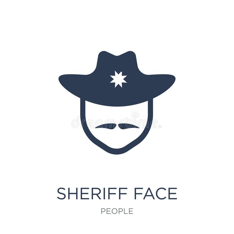 Icono de la cara del sheriff Icono plano de moda de la cara del sheriff del vector en blanco libre illustration