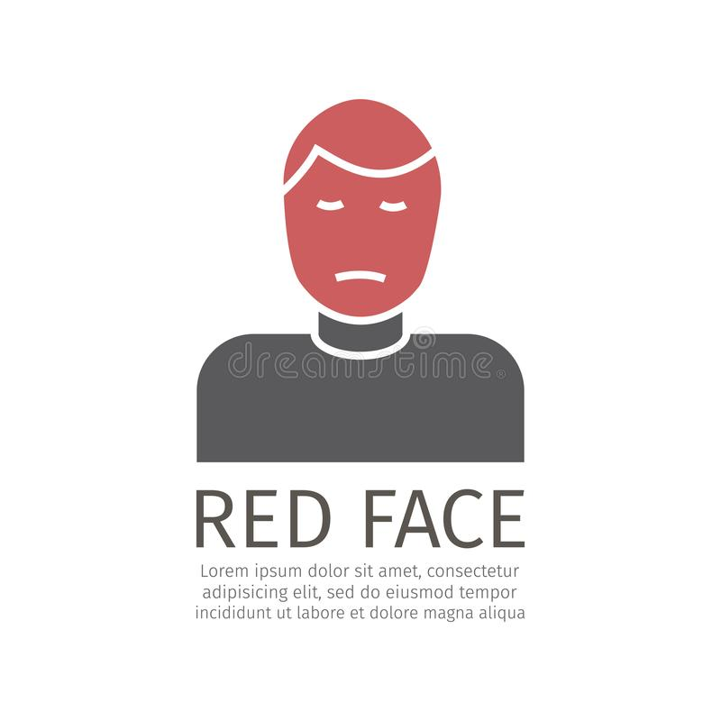 Icono de la cara roja ilustración del vector