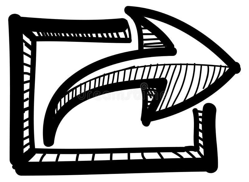 Icono de la carga por teletratamiento de la parte con la flecha libre illustration