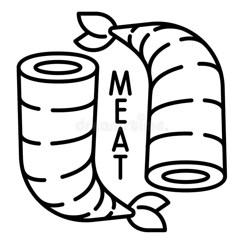 Icono de la carne del camarón, estilo del esquema stock de ilustración