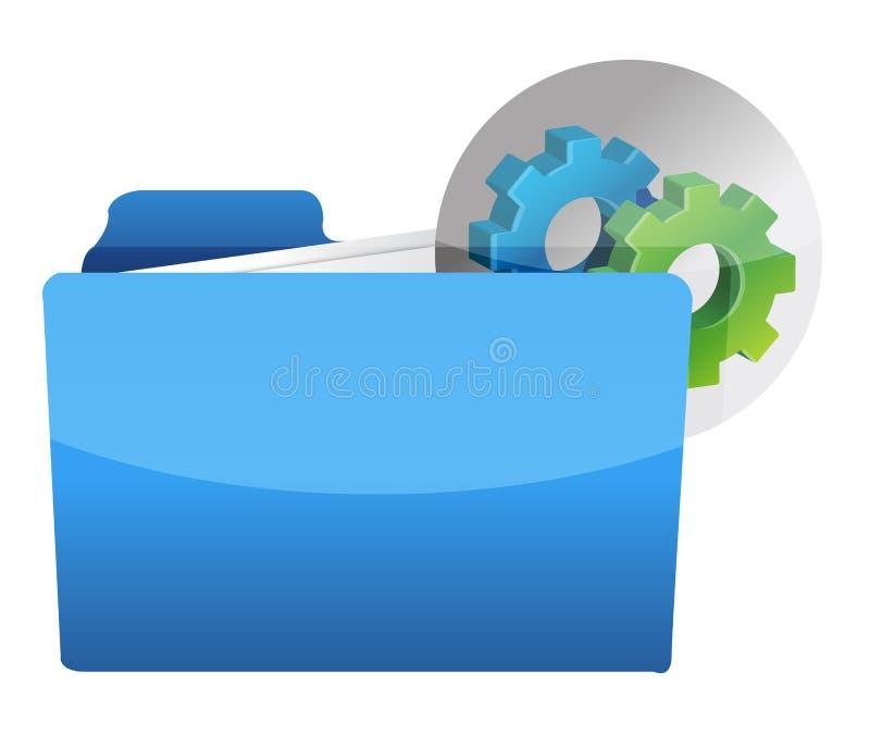 Icono de la carpeta con la rueda de engranaje libre illustration