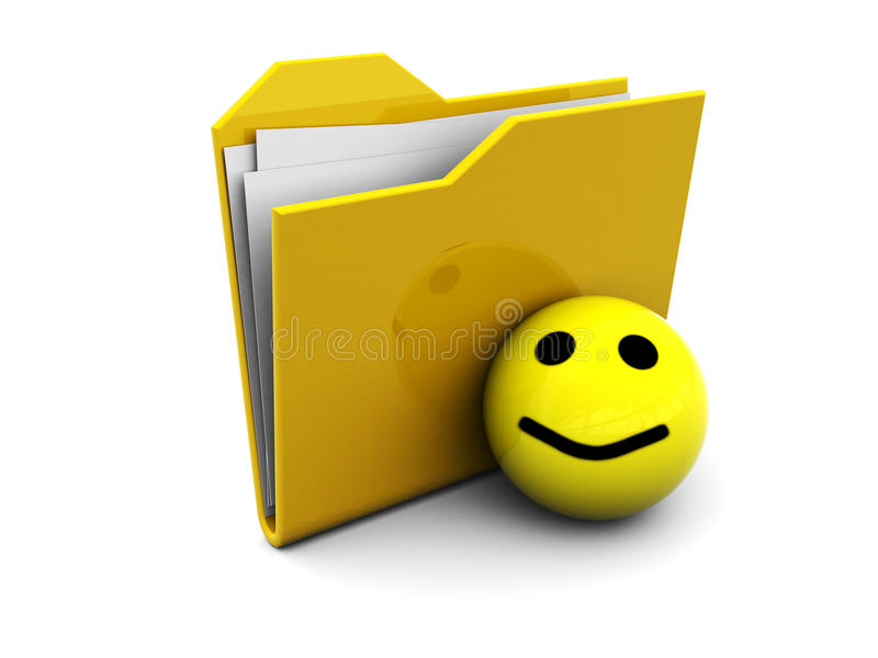 Icono de la carpeta con smiley stock de ilustración